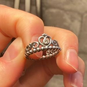 Pandora princess tiara crown ring size 7